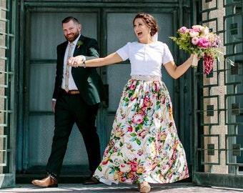 Floral  Maxi Ball skirt, Midi Skirt, Mini Skirt or  full, gathered skirt all sizes custom made to order