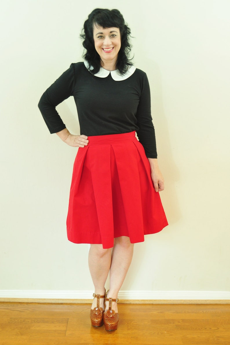 Red Twill Skirt with full pleated skirt custom made to order image 0