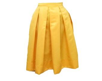 Yellow Midi Skirt Pleated Duchess Satin skirt also in plus size custom made party skirt or bridesmaid skirt