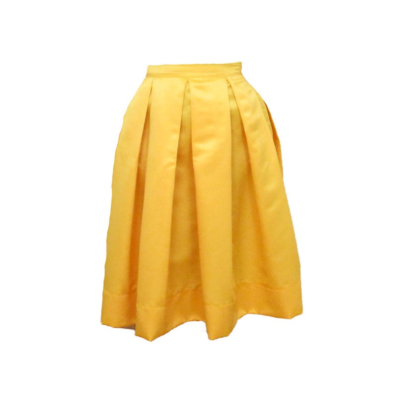b48df9e14 Yellow Midi Skirt Pleated Duchess Satin skirt also in plus | Etsy
