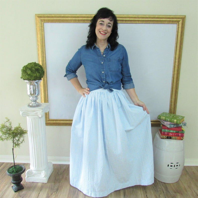 Blue Seersucker Midi Skirt Knee Length Skirt or Maxi Ball image 0