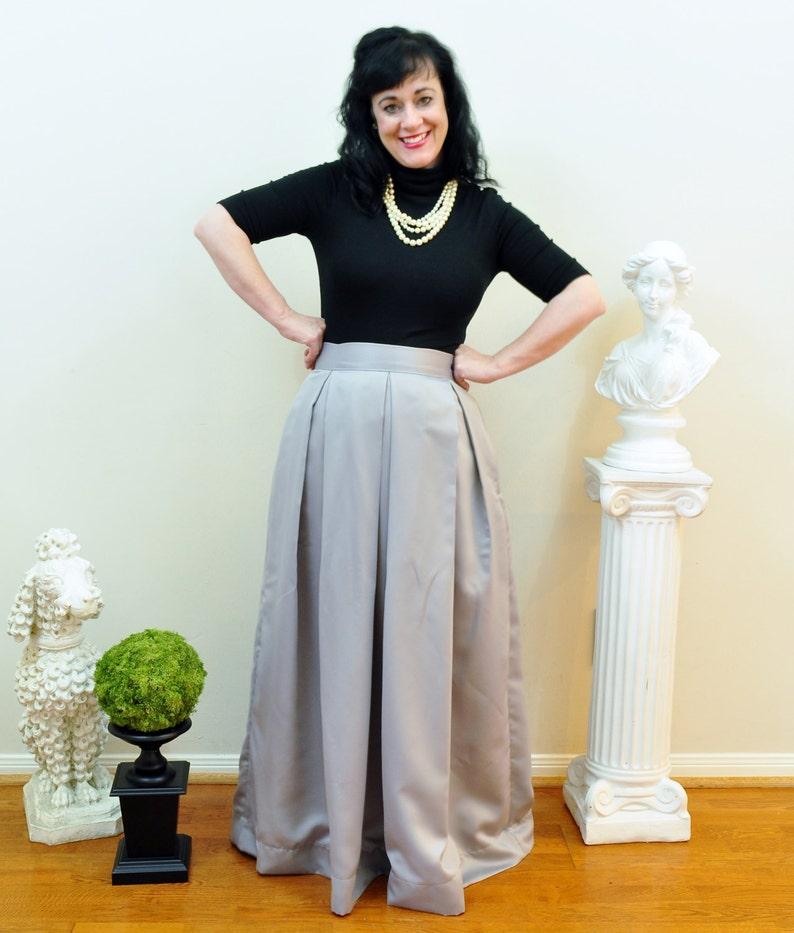Grey Duchess Satin Ball Skirt long full pleated and gathered image 0