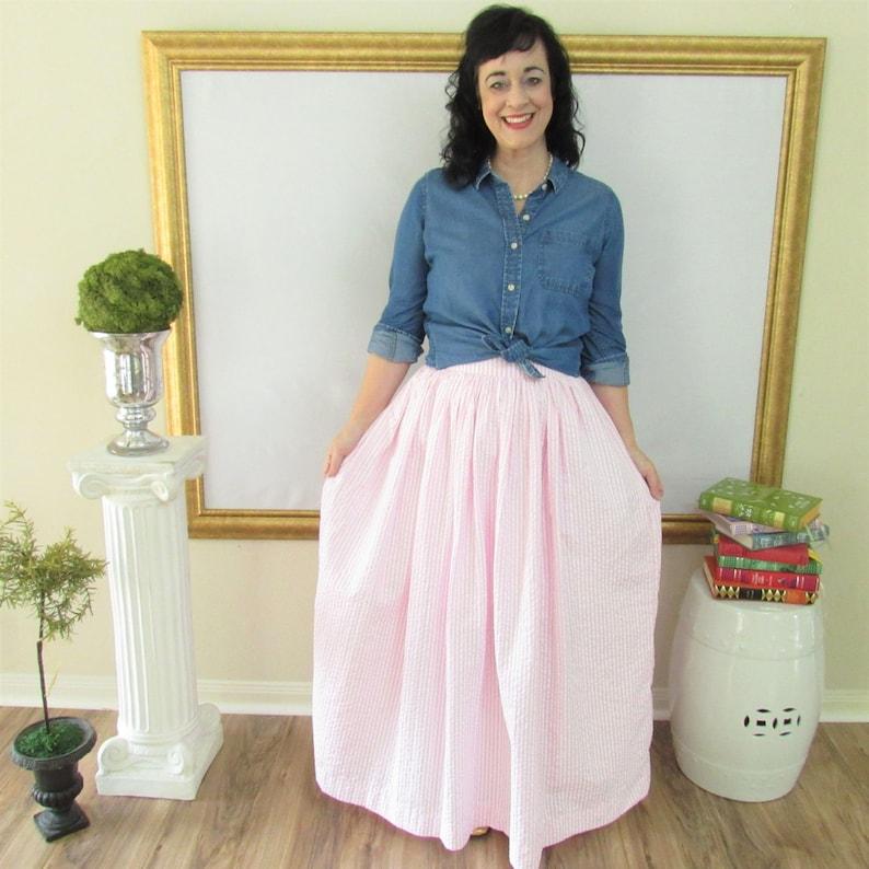 Pink Seersucker Midi Skirt Mini Skirt or Maxi Ball skirt image 0