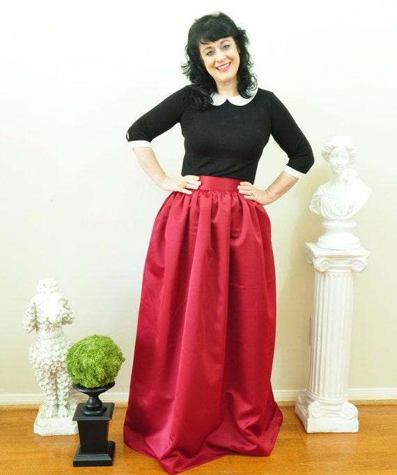 Burgundy Duchess Satin Ball Gown Skirt long full pleated and   Etsy