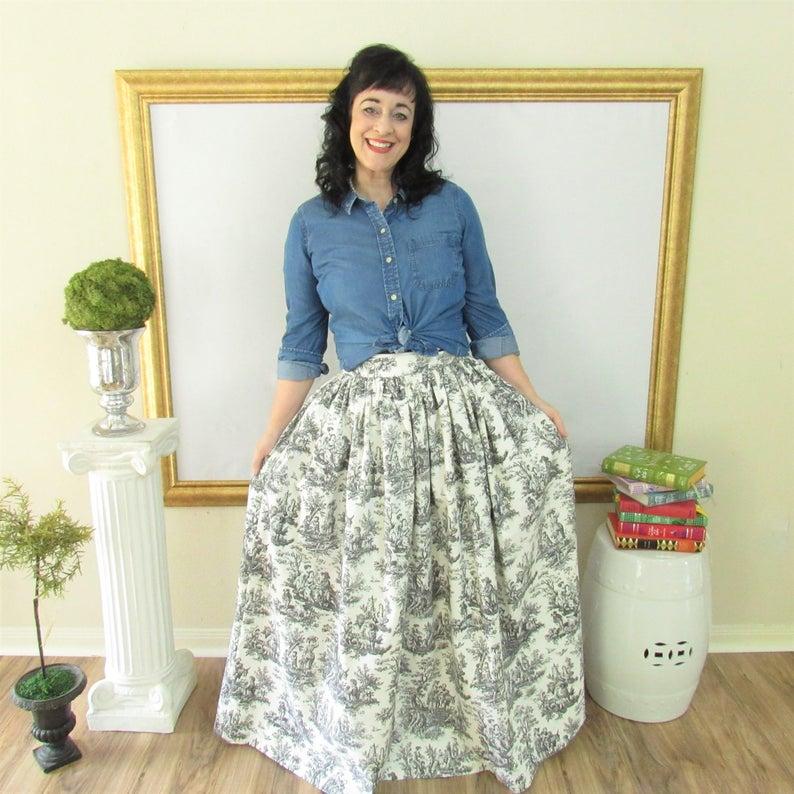 Black and White Toile Midi Skirt Mini Skirt or Maxi Ball image 0