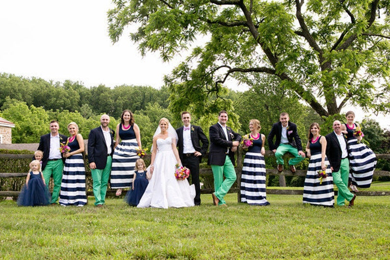 Striped Bridesmaid Skirt  Long Navy and White or Black and image 0