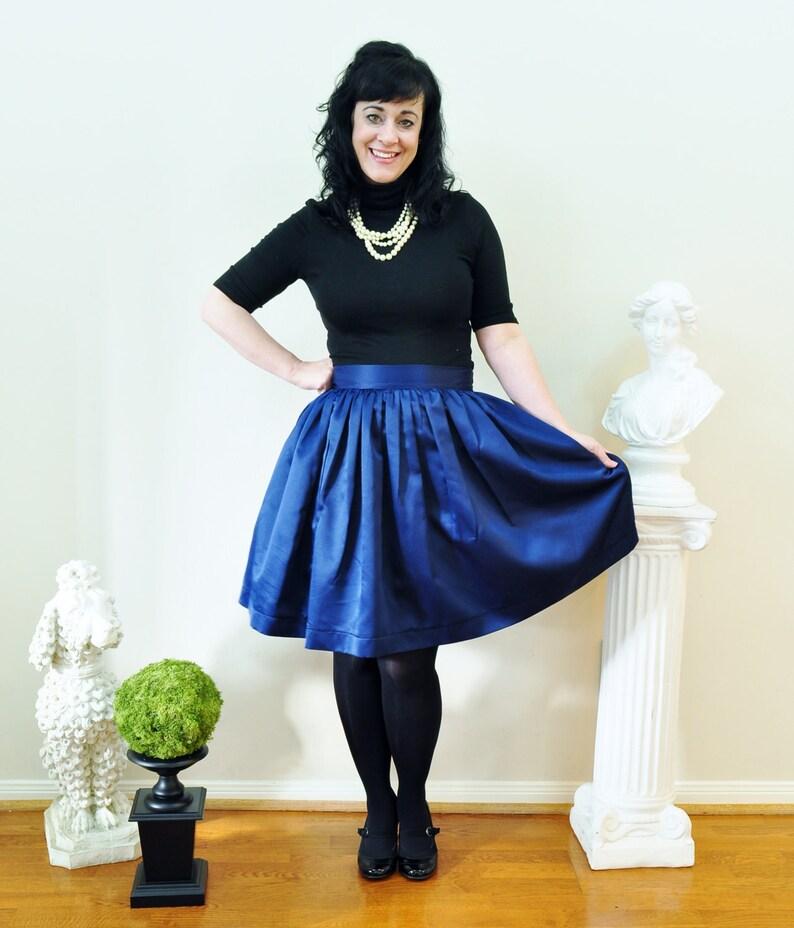 Navy Satin full gathered skirt custom made also in plus size image 0