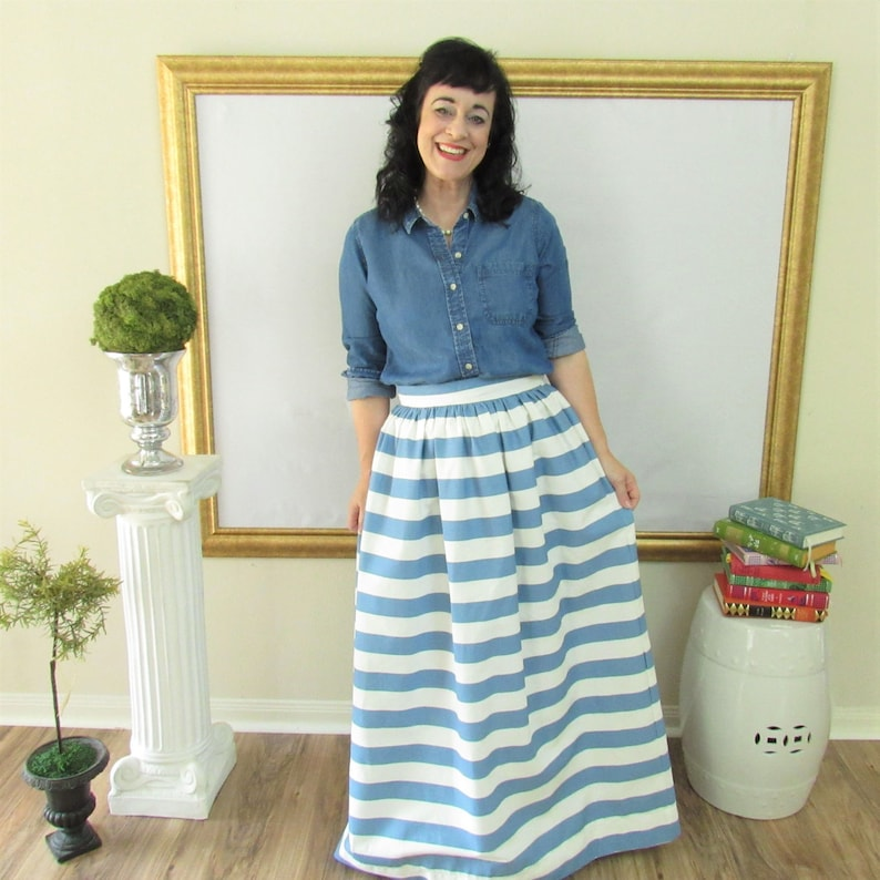 Smoke Blue and White Midi Skirt Mini Skirt or Maxi Ball skirt image 0