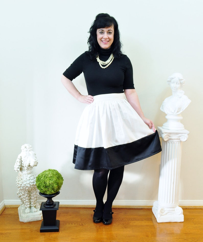 Black and Ivory colorblock Anne Skirt full gathered skirt image 0