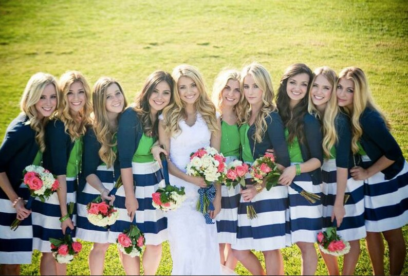 Navy Striped Bridesmaid Skirt Custom made also in Plus size image 0