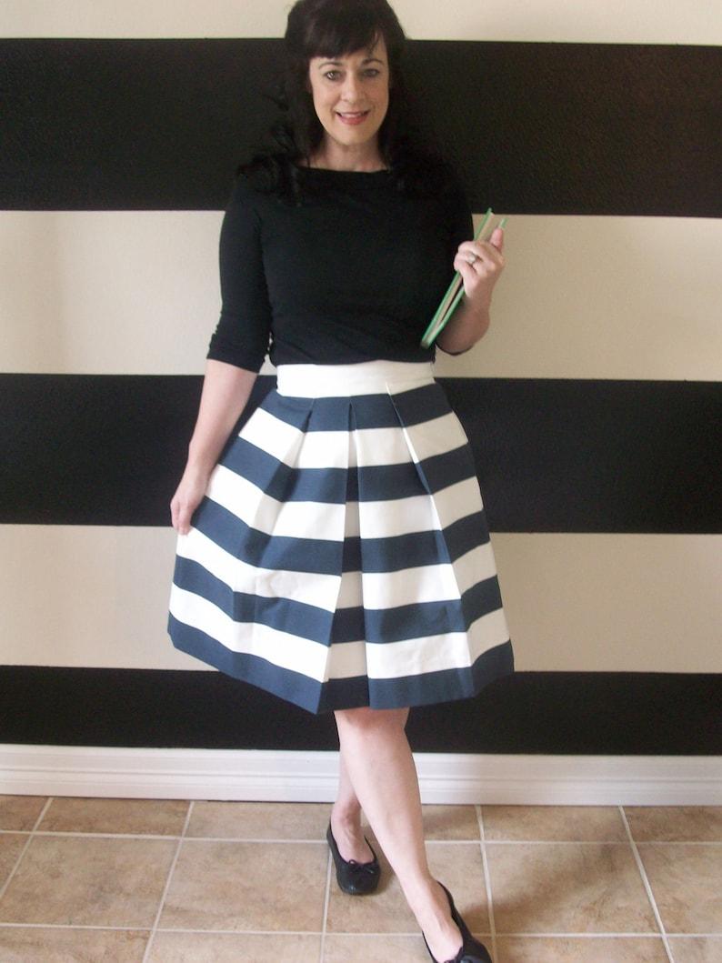 Navy and White Striped Skirt full pleated Katie skirt Custom image 0
