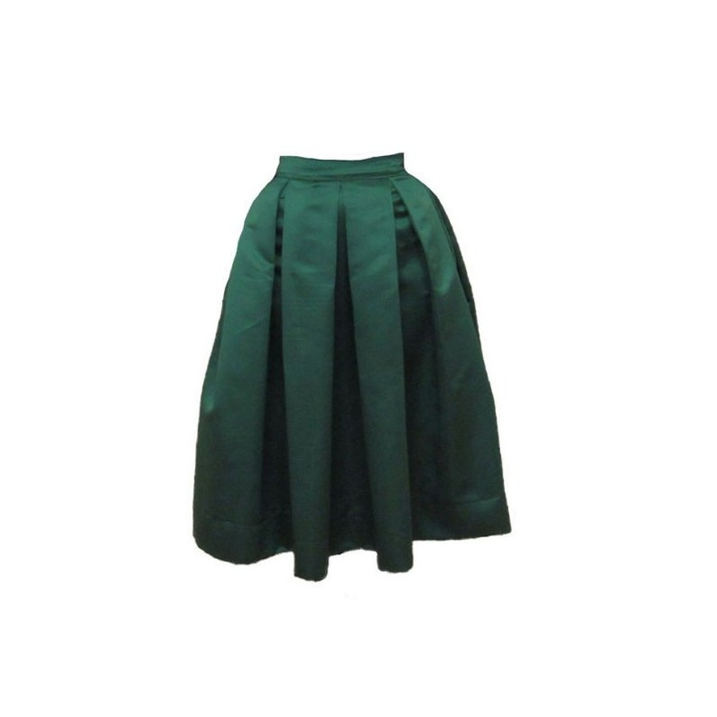 b5ef48ee3 Green Midi Skirt Pleated Duchess Satin skirt also in plus size | Etsy