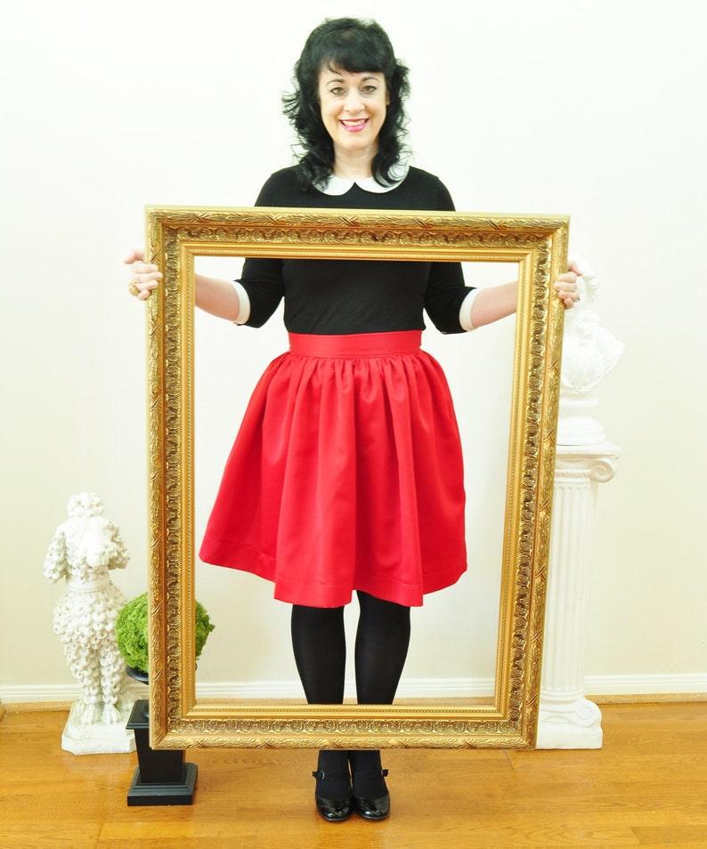 Red Satin Skirt full gathered skirt Custom made also in plus image 0