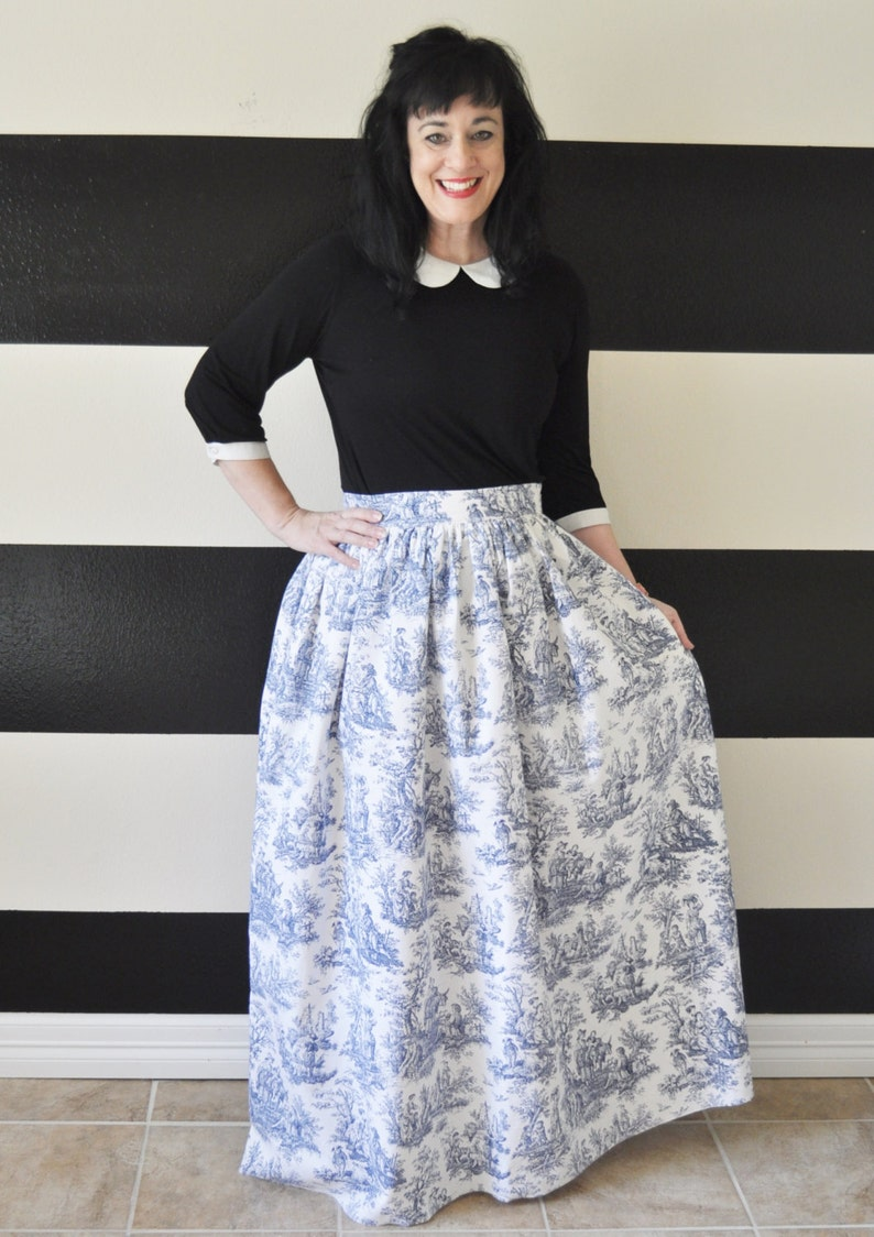 Cornflower Blue Toile Midi Skirt Mini Skirt or Maxi Ball image 0