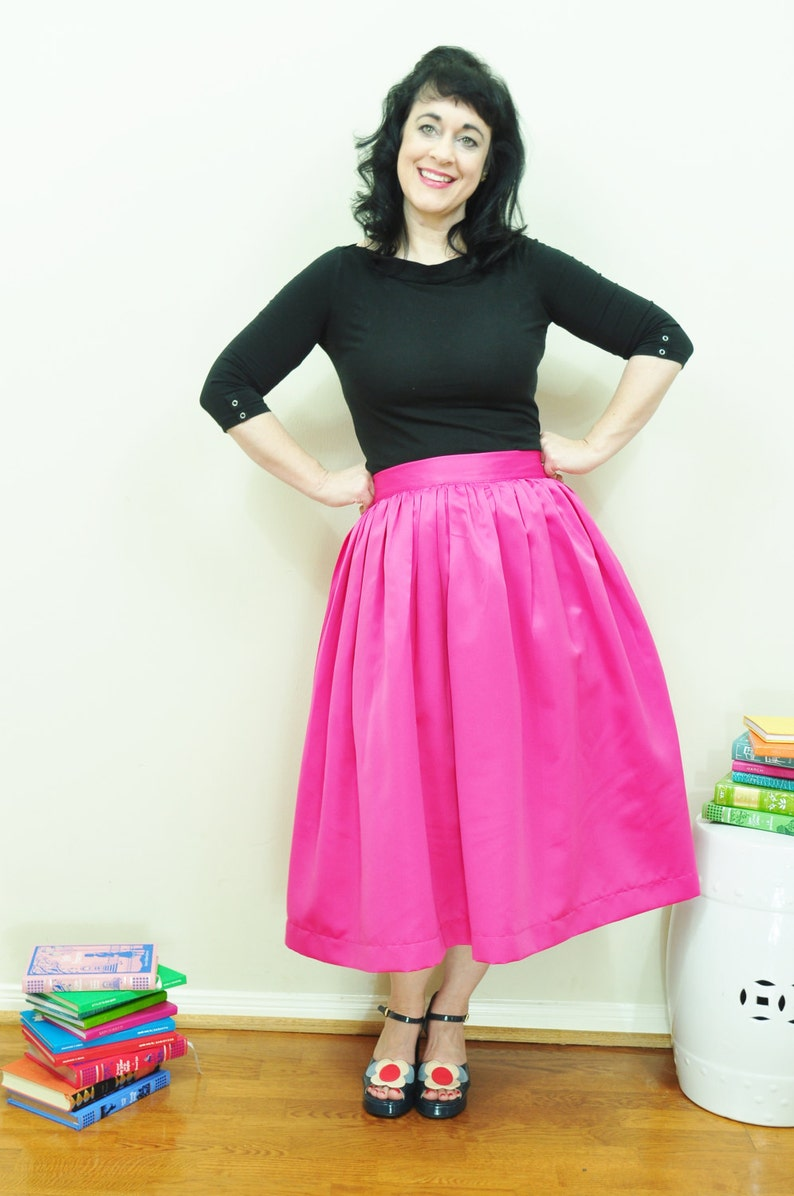 Pink Midi Skirt Custom made Full gathered Duchess Satin skirt image 0