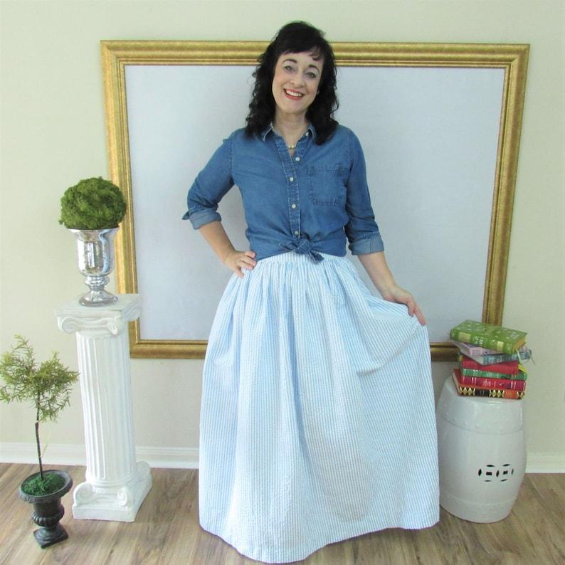 Blue Seersucker Midi Skirt Knee Length Skirt or Maxi Ball image 0
