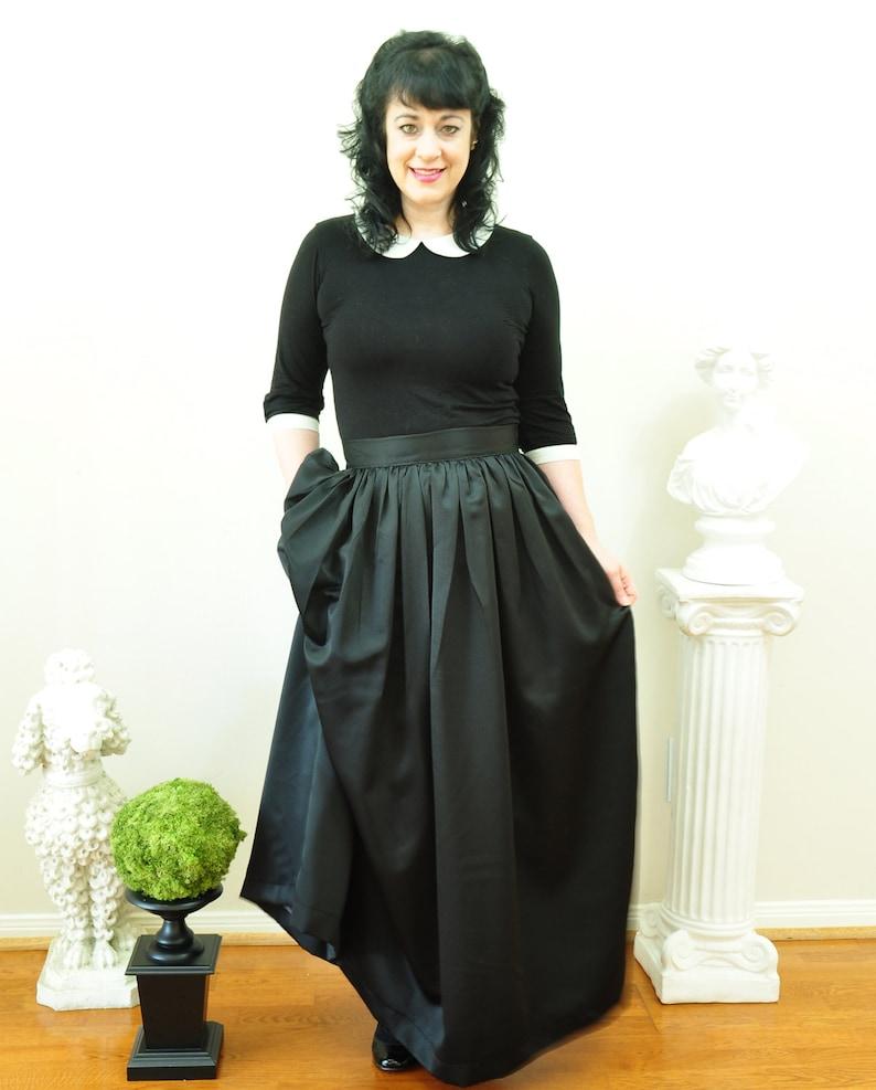 Black Duchess Satin Ball Gown Skirt long full pleated or image 0