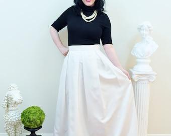 Ivory Duchess Satin Custom made Ball Gown Skirt long full pleated and gathered Full Length Bridal Maxi skirt