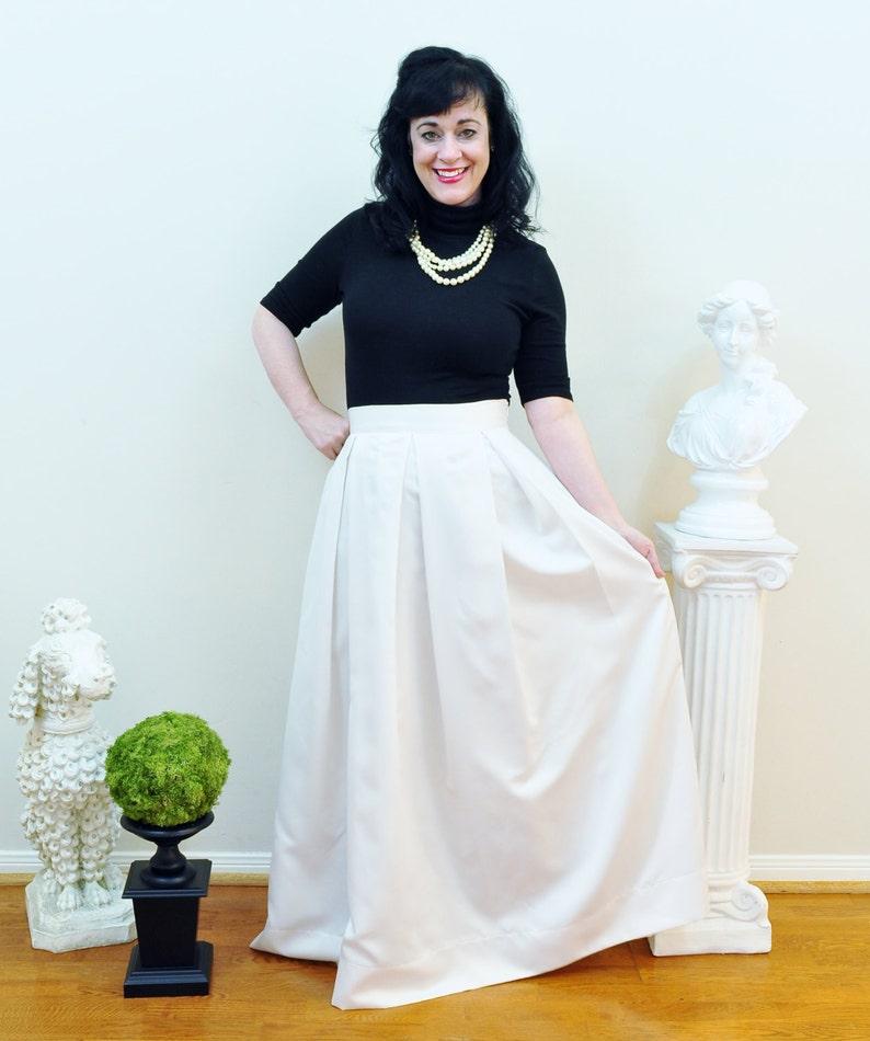 Ivory Duchess Satin Custom made Ball Gown Skirt long full image 0