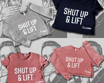 Shut Up & Lift Crop Sweatshirt - Gray