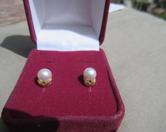 4e04c4fd4 Mikimoto 7mm Pearl 14K Screw Back Earrings with Tiny Gold Leaves
