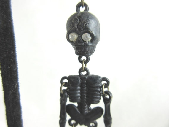 Vintage Black Skeleton Dangle Earrings