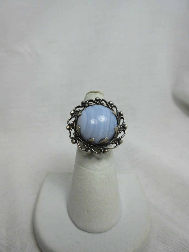 Large Blue Lace Agate and Sterling Ring