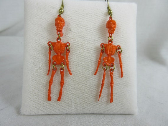 Tiny Orange Skeleton Dangle Earrings