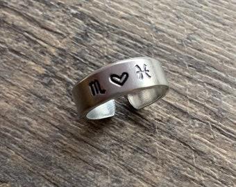 Zodiac Sign Couple Ring  Hand Stamped Ring- Capricorn Aquarius Pisces Aries Taurus Gemini  Cancer Leo Virgo Libra Scorpio Sagittarius