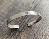 Medical ID Bracelet- Hand Stamped Cuff Bracelet