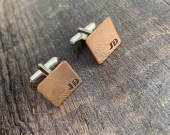 handstamped mens gift Set of 2 wedding Personalized Copper Cuff Links gift under 25 Father/'s Day custom initials