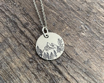 Mountain and Forest Necklace- Hand Stamped Aluminum, Copper, or Brass Charm Necklace