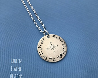 Custom Latitude Longitude Necklace With Compass Rose- Hand Stamped 1 inch Circle Necklace-