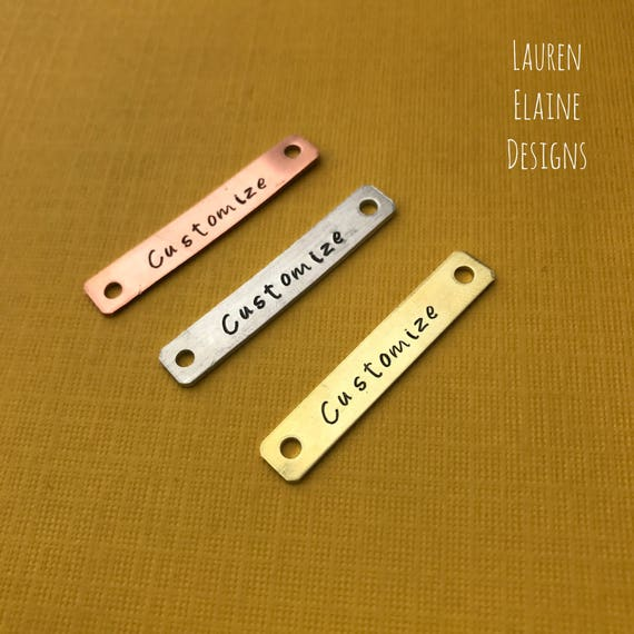 or Copper 1 x 14 In Brass Aluminum Custom Hand Stamped Rectangular Bracelet Charms or Tags