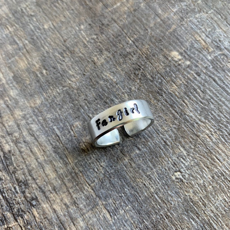 Fangirl Hand Stamped Aluminum Ring You Choose the Font
