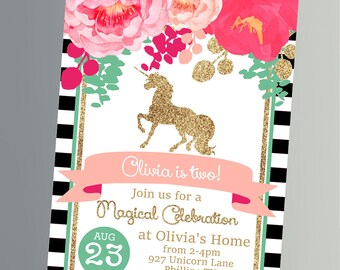 Magical Unicorn Birthday Invitations  - Pink and Glitter - Unicorn Birthday - Printable Party FULL Kit