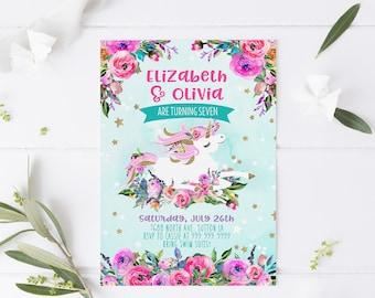 Twins Unicorn Birthday Invites - two or more children, Unicorn Party, Pink purple floral - Unicorn Birthday Invitations - Instant Download