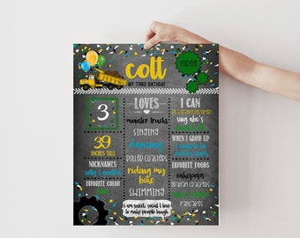 SELF-EDIT Dirty 3rdy Construction Birthday Milestones Poster Board - Welcome Sign, 3rd Birthday Decor, Dump Truck Party, Instant Download
