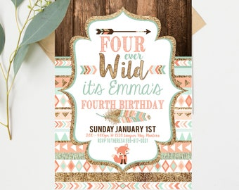 Four Ever Wild Birthday Invitations