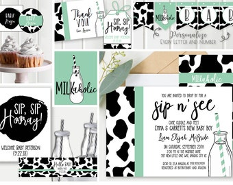 Sip and See Baby Shower invite- Decorations -  teal and cow print, Baby Shower invite, FULL collection + Shower Games