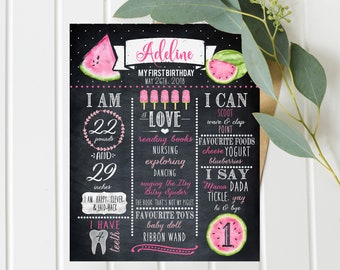 Girls First Birthday Chalkboard, Pink and Green, One in a Melon Birthday, Water Melon, Digital download Birthday Poster