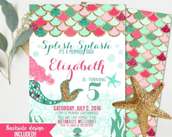 Mermaid birthday Invitations - Pink Girls Birthday - Mermaid Birthday Party - Instant Download