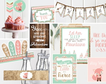 Wild ONE Pink First Birthday Decor- Printable - Tribal First Birthday - Wild One Birthday- Kit Instant Download