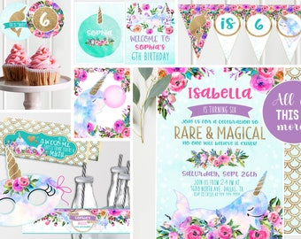 Magical Narwhal Unicorn of the Sea Party - Purple Floral  Gold - Printable - Magical Narwhal Unicorn Girls Birthday Party - Instant Download