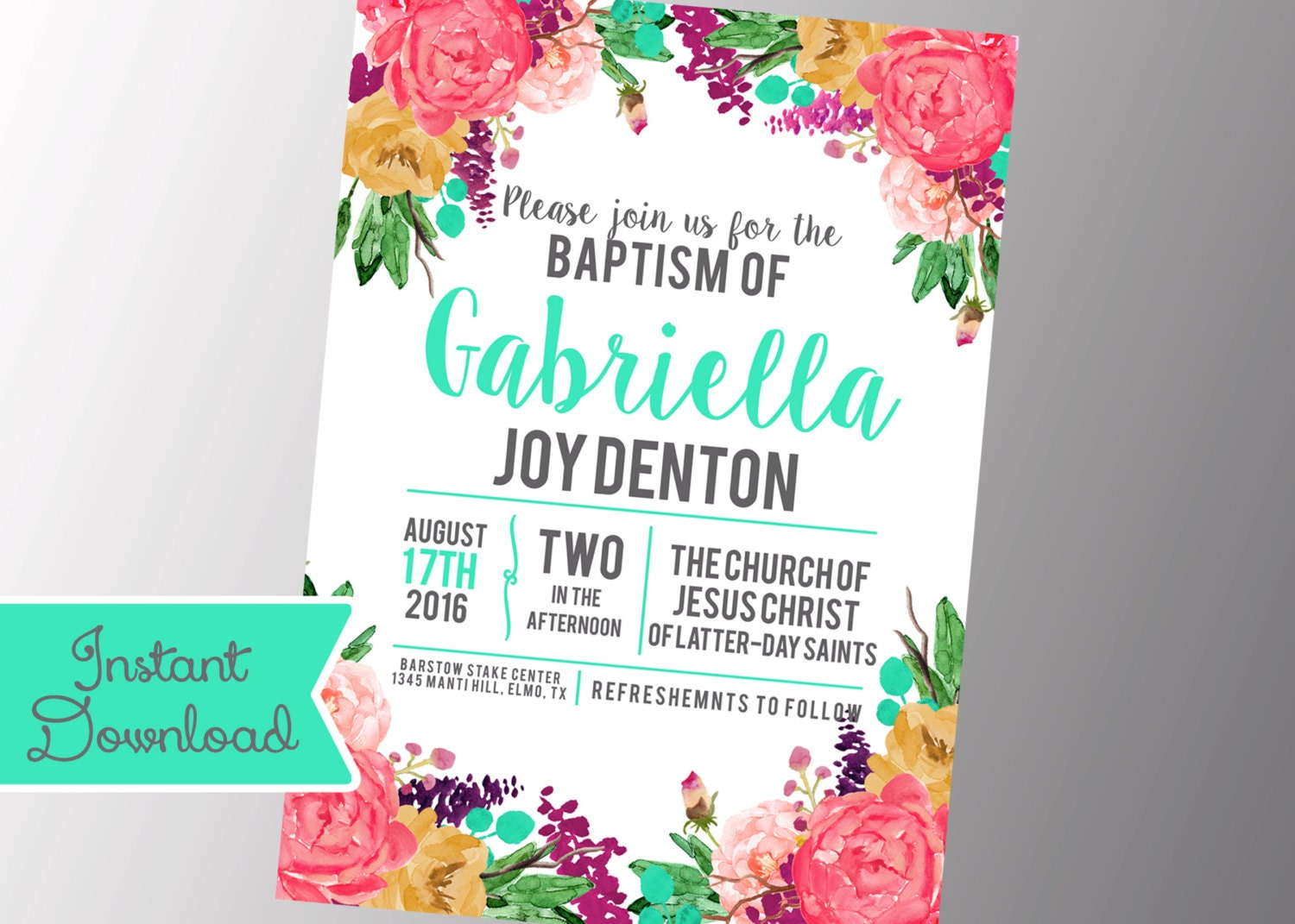 Girls Lds Baptism Invitation Photo Announcement Floral Etsy