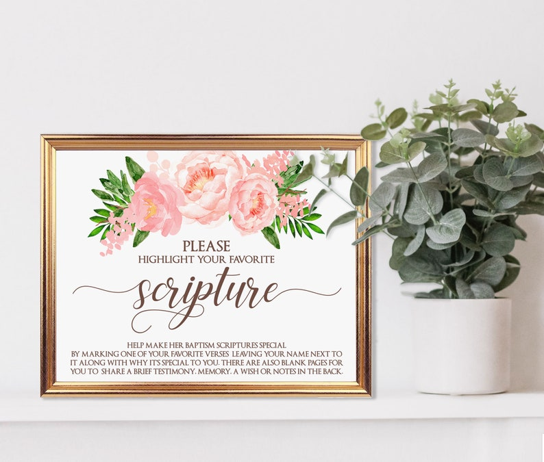 Guest Book Sign Printable Please Highlight Favorite Scripture image 0