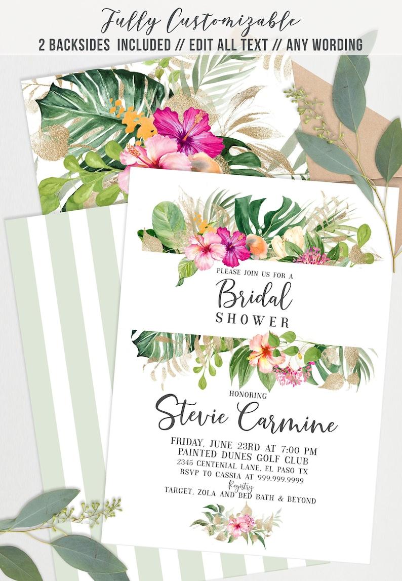 INSTANT DOWNLOAD  Gold Floral Palm Tropical Bridal Shower image 0