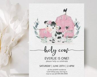 Holy Cow Girls Birthday Invitation, Blush Pink Barn Farm Birthday, Any Age + First Birthday, Editable Invite Printable , Cow Invite Template
