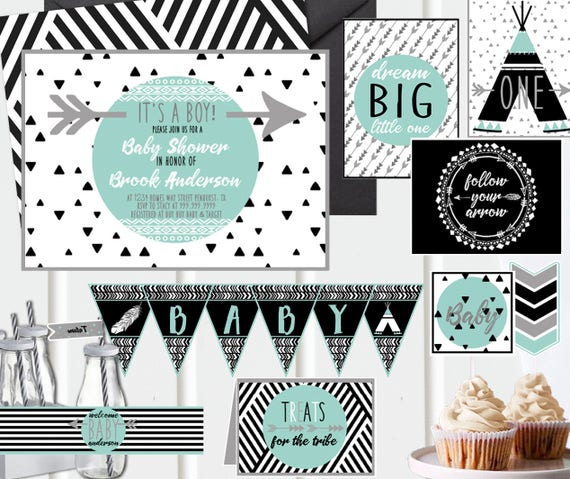 Black And White Baby Shower Decorations  from i.etsystatic.com