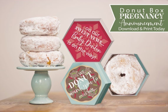 Christmas Pregnancy Announcement Donut Box Printable Etsy
